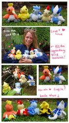 All the babies! Legendary Bird Pokemon plush set by scilk