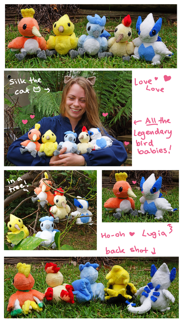 All the babies! Legendary Bird Pokemon plush set by SilkenCat