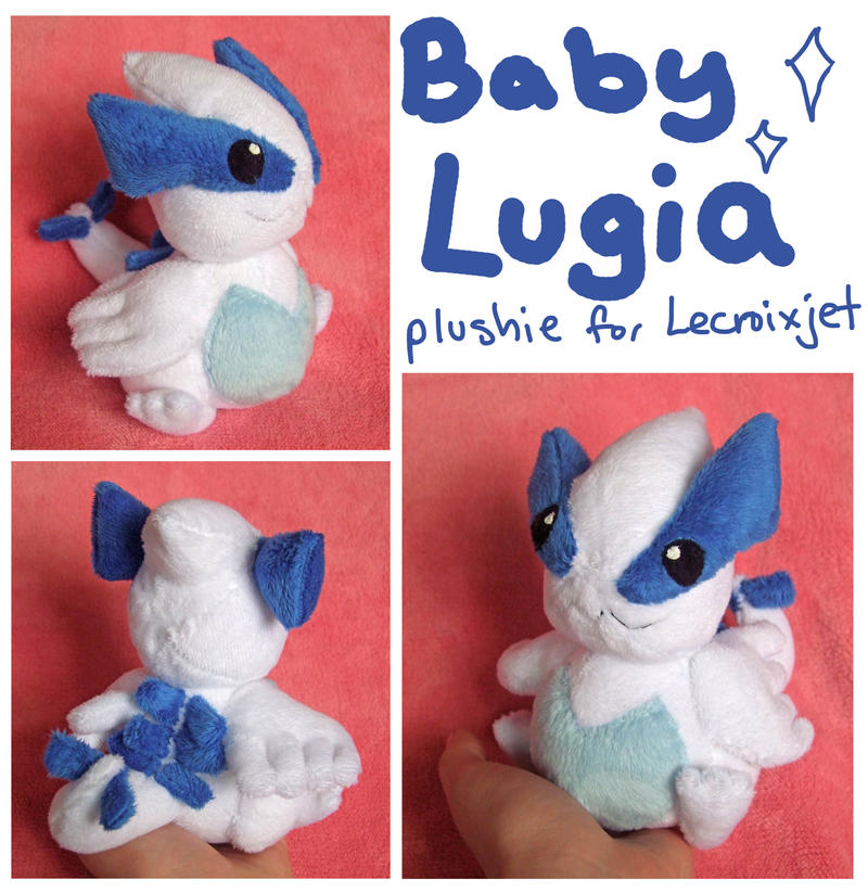 Baby Lugia plushie for Lecroixjet by scilk