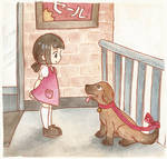 Ayumi meets a dog