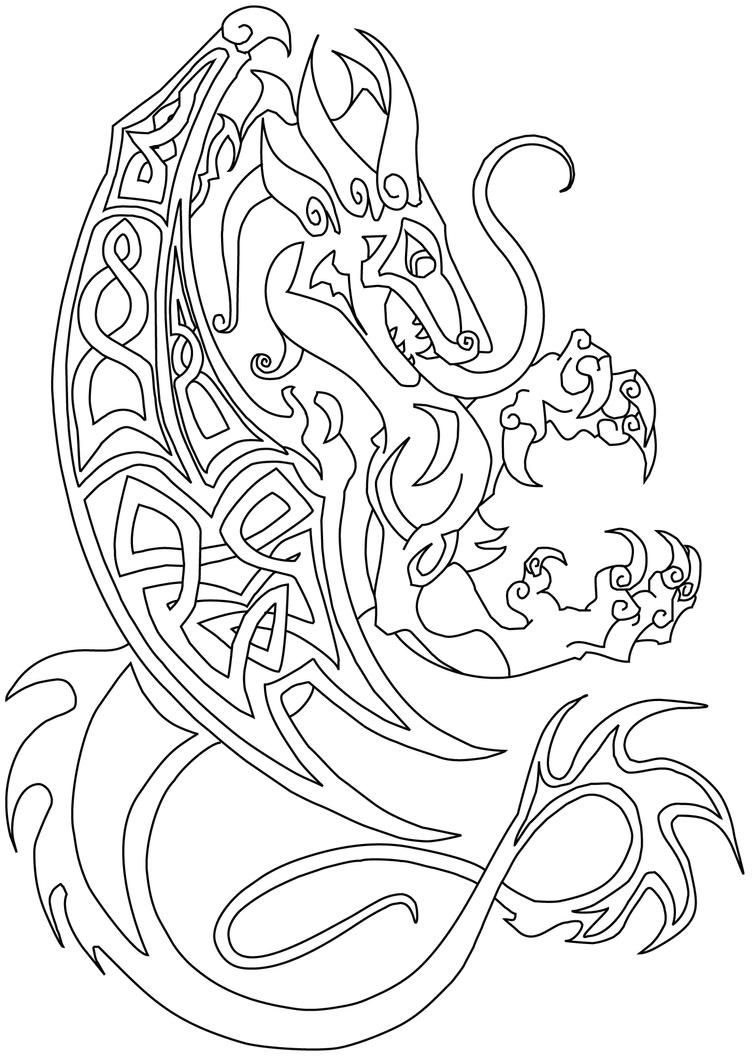 Commish Celtic Dragon By Littlemeesh On Deviantart