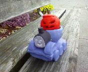 Thomas the Tank and a Pumpkin by DizzyTheFlash