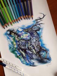Colorful deer by EmilyArtPoland