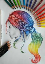 Colorful hair by EmilyArtPoland