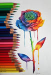 Colorful rose by EmilyArtPoland
