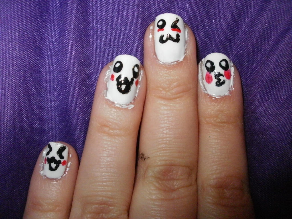 kawaii face nails by meardell on DeviantArt