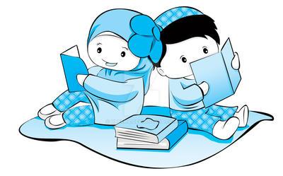 Gambar Kartun Anak Muslim Membaca Buku