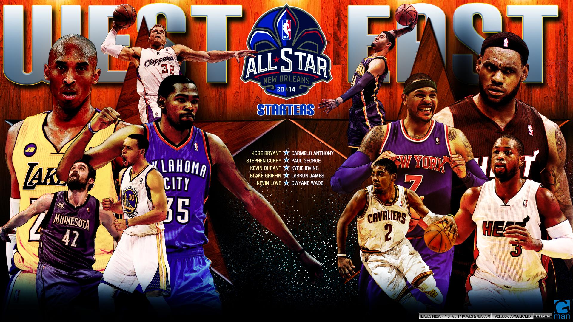 2014 NBA ALLSTARS Starters (1920 x 1080) by YaDig
