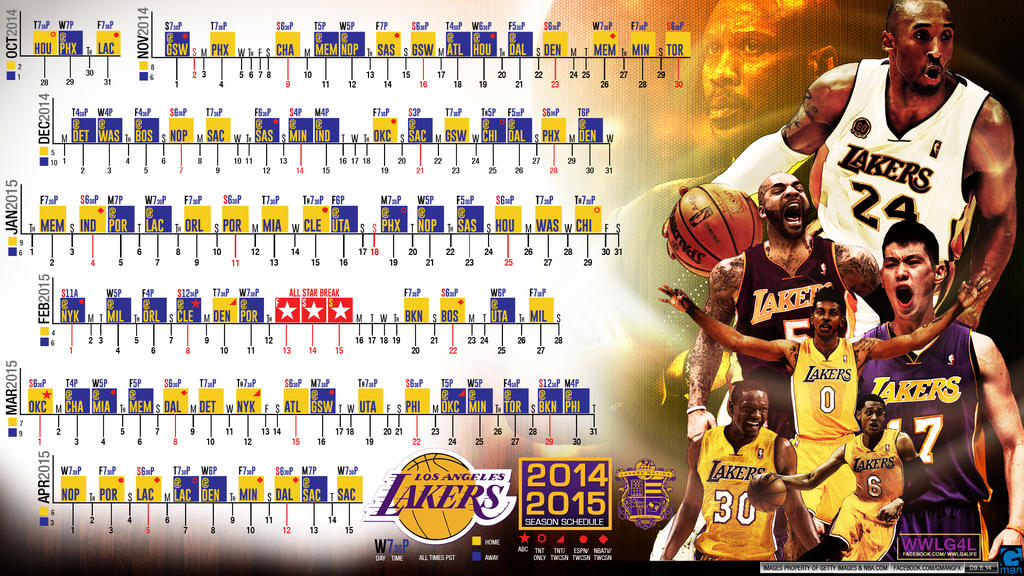 Los Angeles Lakers 2014-15 Schedule by YaDig