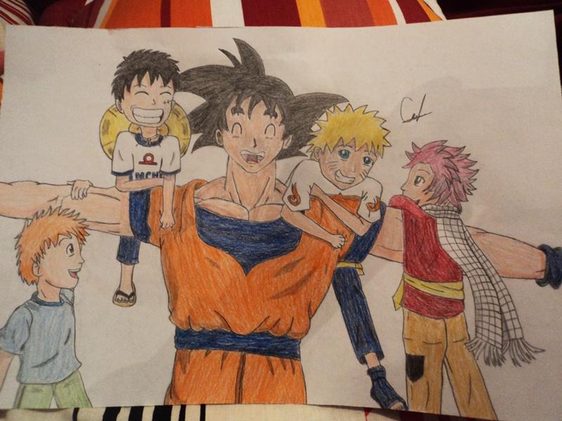 Goku, Naruto, Luffy, Ichigo and Natsu by KeidyNeko on ...