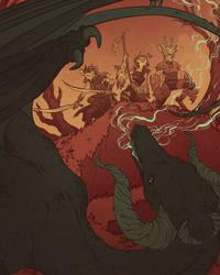 Party V. Black Dragon (commission) by cowboypunk