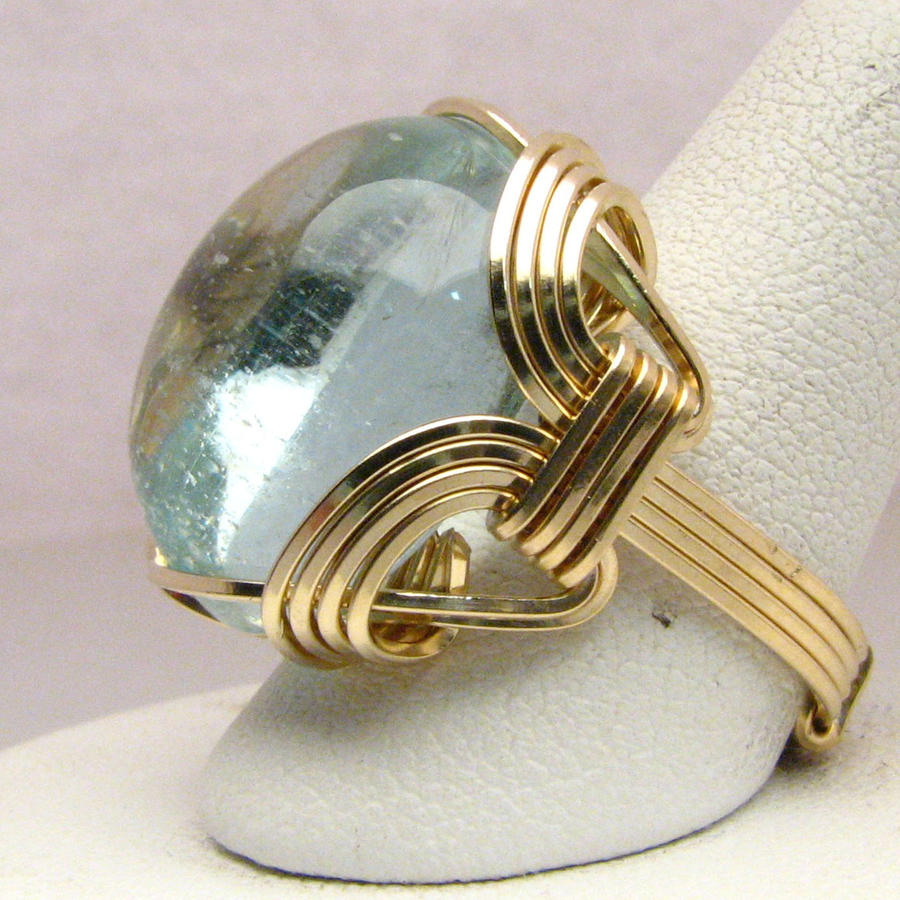 14 kt gold aqua wire wrapped ring by jandsgems on deviantart