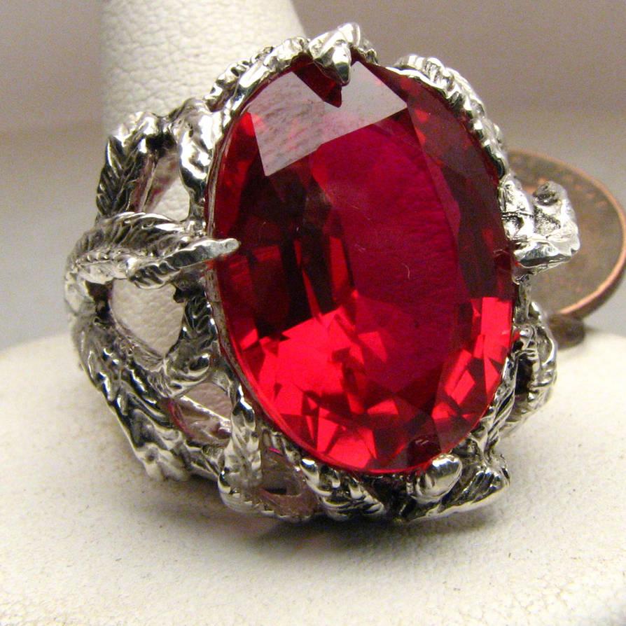 Ruby Stone Solid Sterling Silver Vine Ring by JandSGems