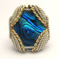 Wire Wrapped Blue Paua Silver /14kt Gold Filled ri by JandSGems