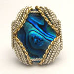 Wire Wrapped Blue Paua Silver /14kt Gold Filled ri