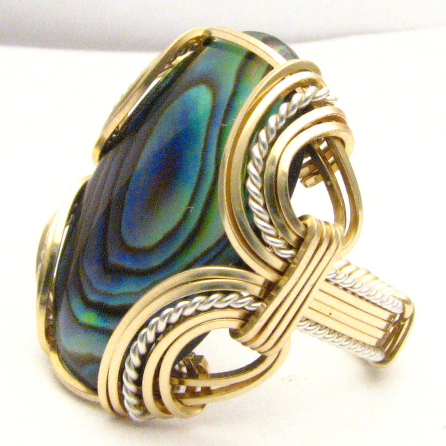 estate bezel silver ring l sterling size vintage abalone set rings