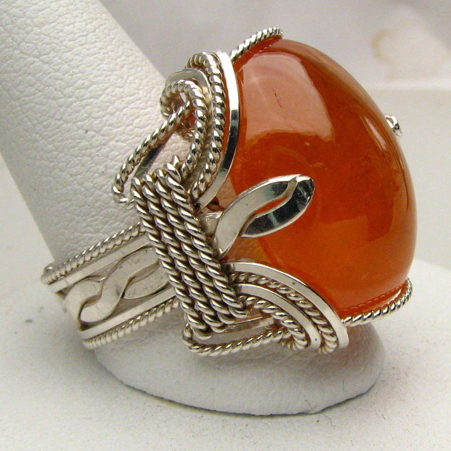 Wire Wrapped Spessartite Cab Stirling Silver Ring