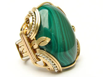 Sterling Silver/14kt Gold Filled Malachite Ring by JandSGems