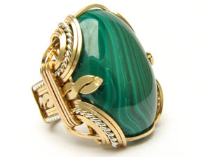 Sterling Silver/14kt Gold Filled Malachite Ring