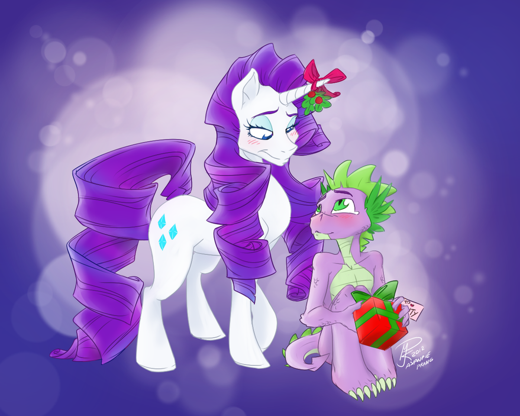 Rarity and Spike Christmas - procrastination weeee by asianpie
