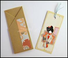 Bookmark-Japanese Doll-Light Blue cotton threads by SuniMam