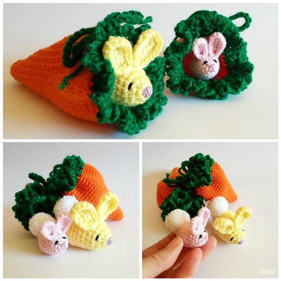Amigurumi Easter Bunny + Carrot Pouch by SuniMam