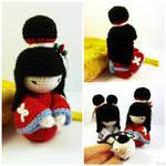 Amigurumi japanese doll Red Kimono