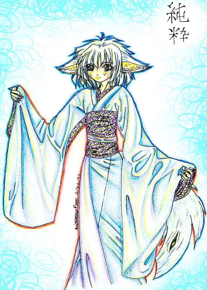 Inari's Kitsune: White Fox by foxonfire