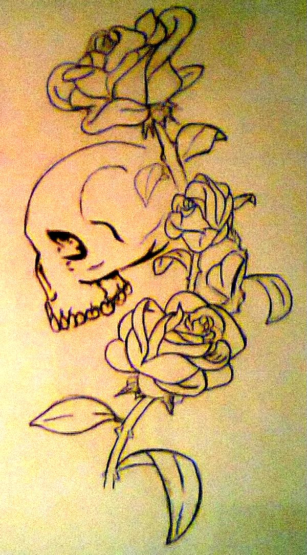 Black And White Rose And Skull Tattoos Skull Roses Tattoo Design by