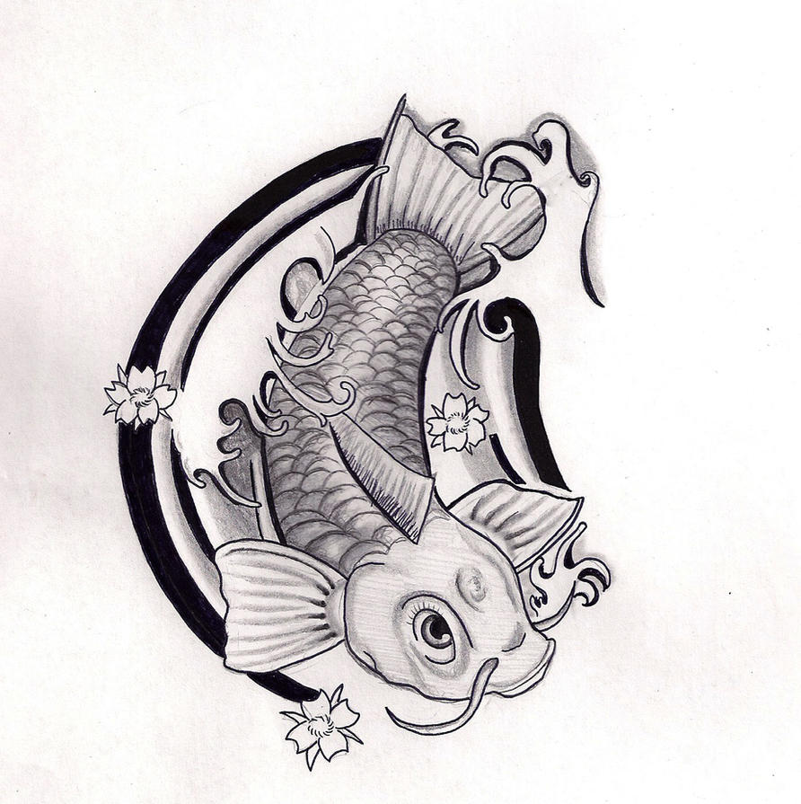Koi fish tattoo design black and grey by hausofch on for Black koi fish