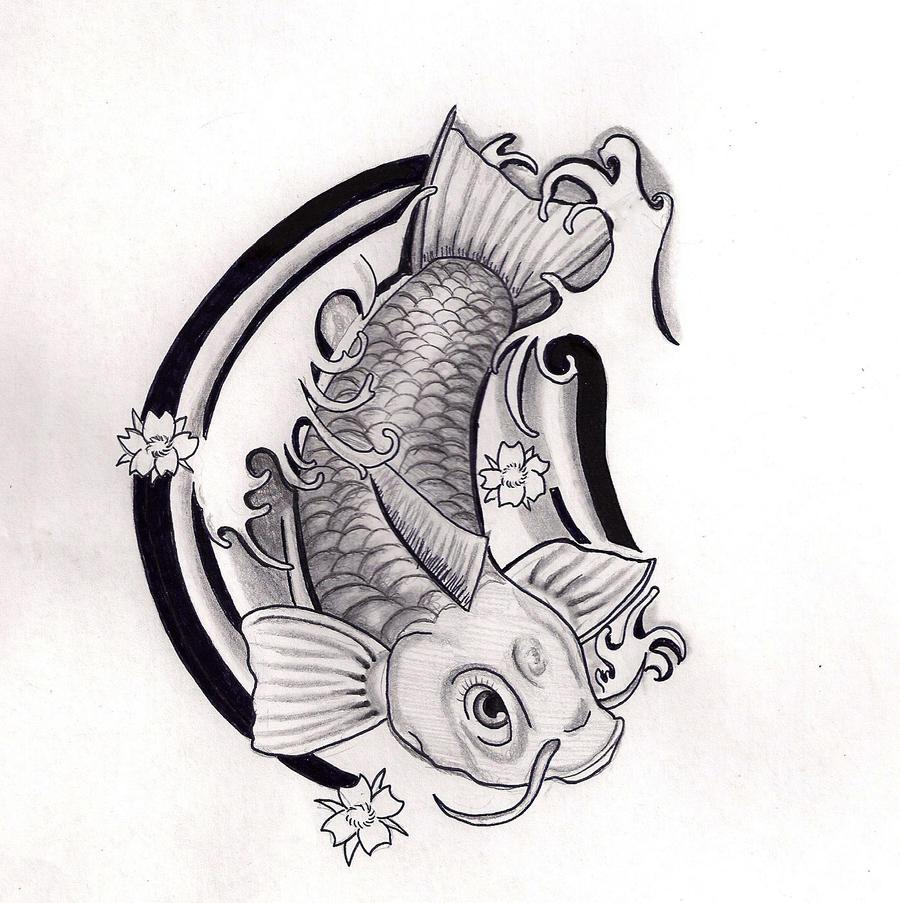 Koi fish tattoo black and white drawings for Koi fish black and grey