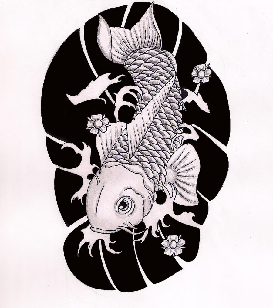 Koi half sleeve black and white by hausofch on deviantart for Black and white koi