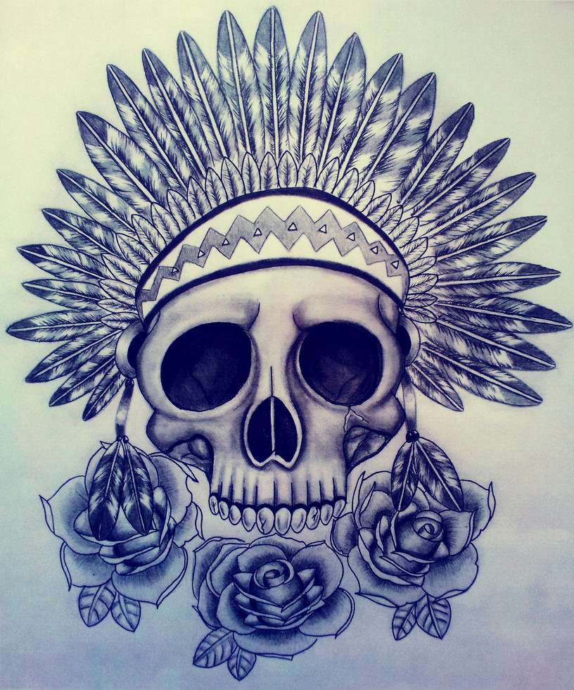Skull with Indian Headdress by Hausofch