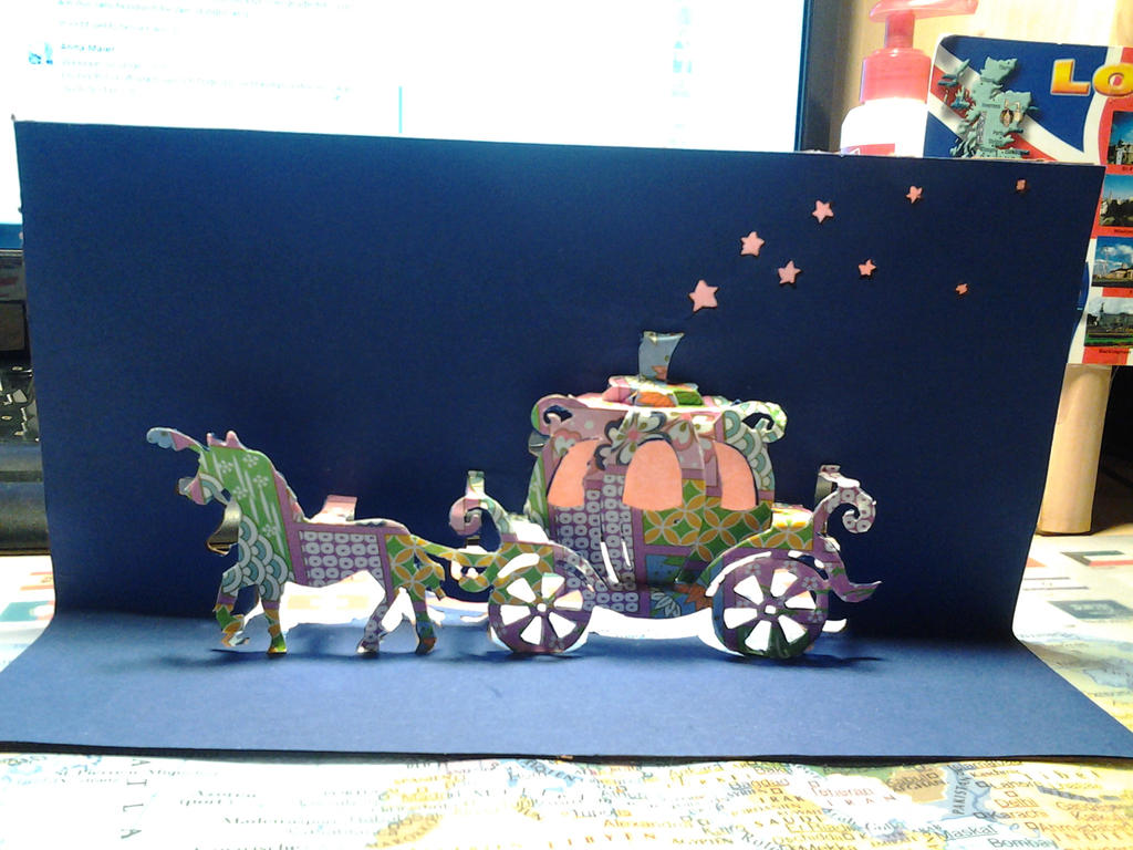 Cinderella carriage - Kirigami by Shibib333Gedio