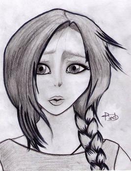 Darkened Version Of Girl With Braid