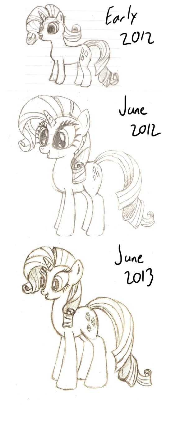 Rarity Drawing Comparison Year 2 by Mortris