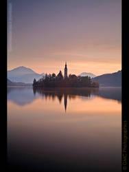 Lake Bled at Dawn by GMCPhotographics