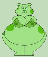 Big People-sized Green Puppy Front View by Pancakedude