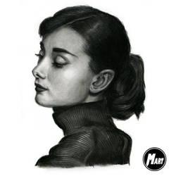 Charcoal portrait - Audrey Hepburn