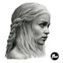 Charcoal portrait - Daenerys Targaryen by M-art-works