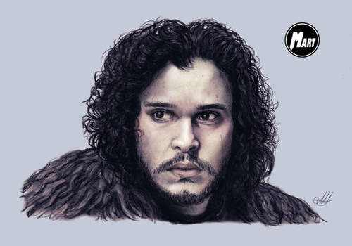 Charcoal and Digital portrait - Jon Snow