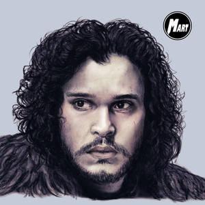 Charcoal and Digital portrait - Jon Snow -Close up