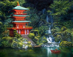 japanese pagoda - oil painting