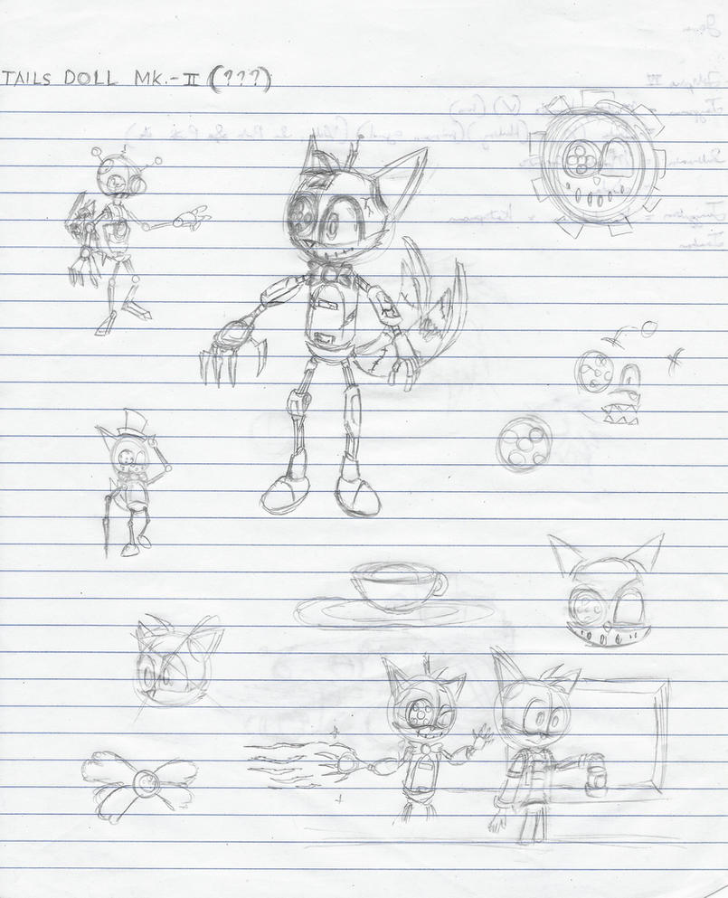 Tails Doll Mk.- 2 (Sketch and Concept Art) by JamesTechno998
