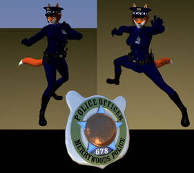 Cop Fox Fight Stances + Badge