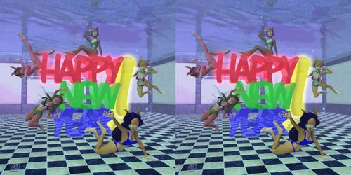 Bikini Bunnies Wish You Happy New Year - Stereo3D!