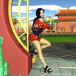 Mi-Ju At The Tranquility Gardens Entrance Shot #3