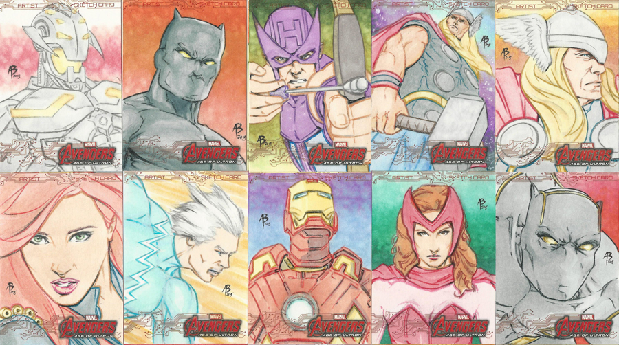 Avengers:Age of Ultron sketch cards by abraun