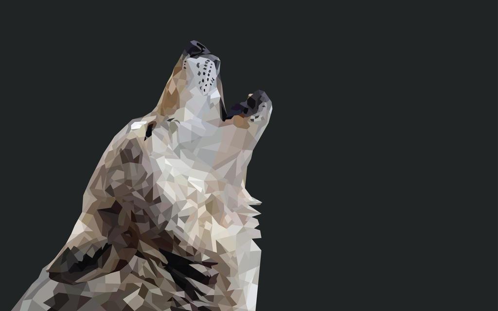 Geometric Wolf Howling Wallpaper by Nulfura