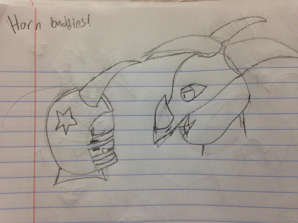 Horn Buddies! (Veronica and BullDozer) by StantheSpider